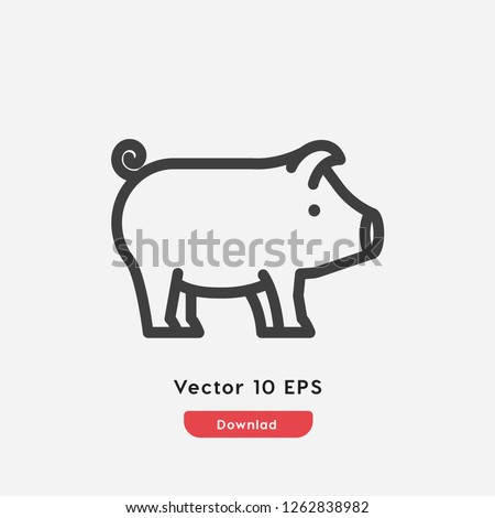 Pig icon vector. Pig symbol. Linear style sign for mobile concept and web design. Pig symbol illustration. Pixel vector graphics - Vector.