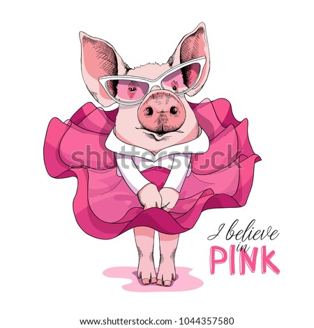 pig in a pink dress and in a
