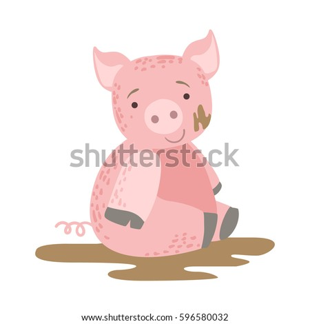 Pig In Mud Cute Toy Animal With Detailed Elements Part Of Fauna Collection Of Childish Vector Stickers