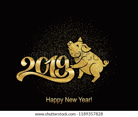 Pig is a symbol of the 2019 Chinese year. Greeting card, golden pig. Vector illustration. Eps 10