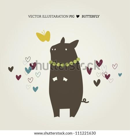 Pig loves butterfly illustration