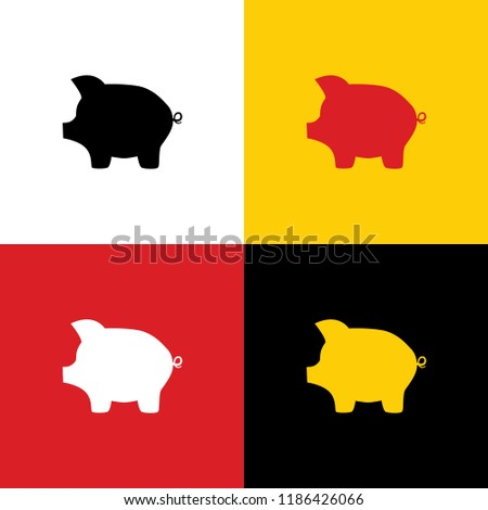 Pig money bank sign. Vector. Icons of german flag on corresponding colors as background.
