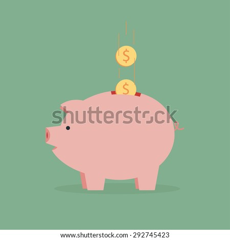 pig piggy bank with coin vector