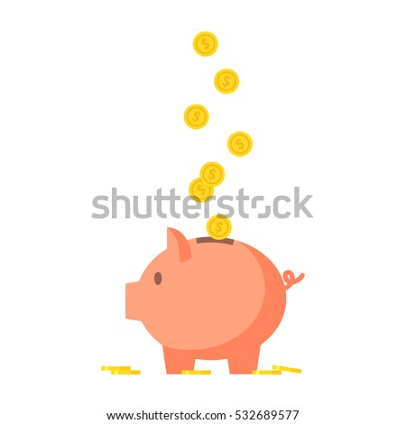 pig piggy bank with coins