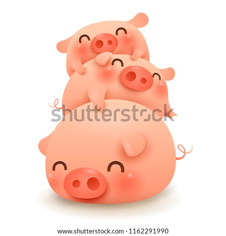 Pig pile. Three little pig. Chinese New Year. The year of the pig.