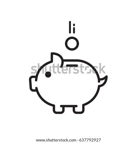 pig pink piggy bank flat icon money saving business icon money coin logo bank credit rich price dollars euro protection creditor thin line icons vector
