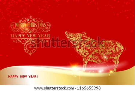 Pig silhouette over golden Christmas card. Christmas invitation card with template text over red background. Vector illustration.