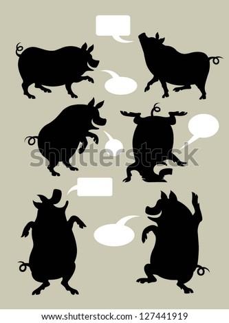 pig silhouette symbols set