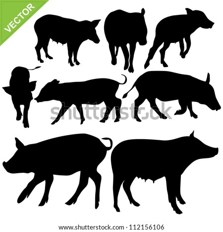 pig silhouettes vector