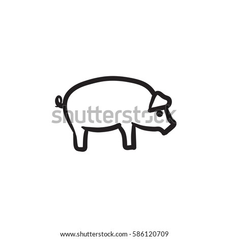 pig sketch icon for web  mobile