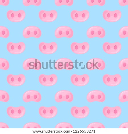 Pig snouts seamless pattern for wrapping gifts for the New Year and Christmas.