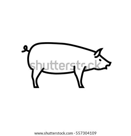 Pig web line icon.