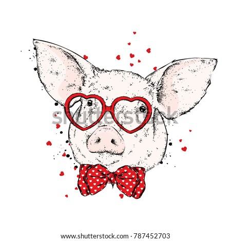 pig with glasses in the form of