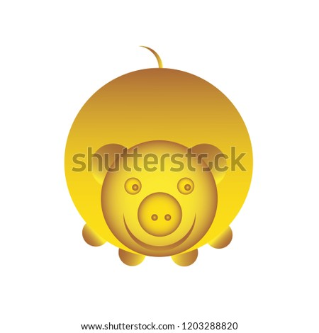 Pig yellow earthy, icon, logo for decoration. Illustration for design and congratulations. Vector illustration