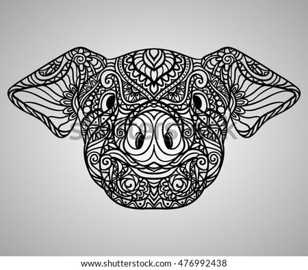 pig zodiac artistic ornament black in white