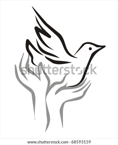 pigeon of peace flying from the open hands sketch in black lines - stock vector