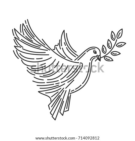 Pigeon of peace with an olive branch in its beak. Dove of peace. Symbol of peace. Line icon design. Vector illustration