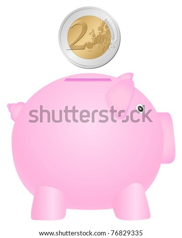 Piggy bank and coin on white background. Vector illustration.