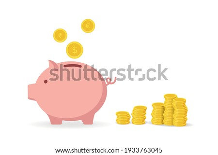 Piggy Bank and Coins - Investment Stock foto ©