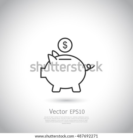 Piggy bank and dollar coin icon.