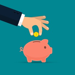 Piggy bank and hand with coin color illustration. Vector business concept.