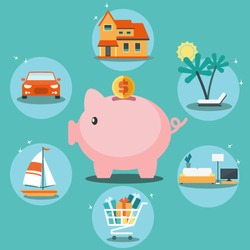 Piggy bank and 6 icons: house, car, yacht, shopping cart, furniture and holiday. Saving and investing money and financial planning vector concept. Insurance, credit card, mortgages and banking service