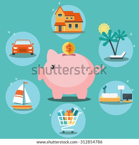 piggy bank and 6 icons  house