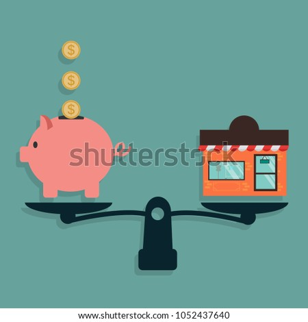 Piggy Bank and Shop on weighing machine