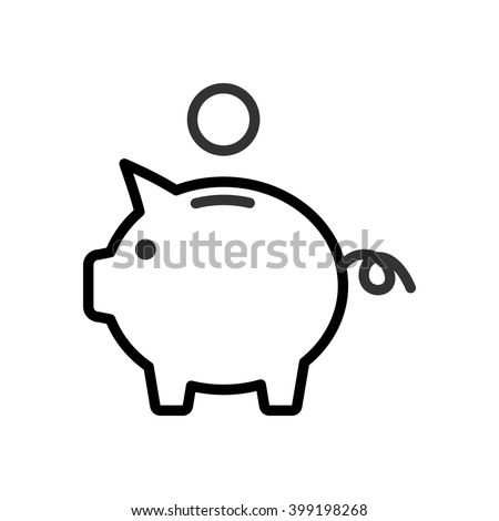 Piggy Bank. Fully scalable vector icon in outline style.