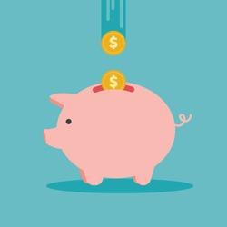 Piggy bank icon. Flat design vector illustration.
