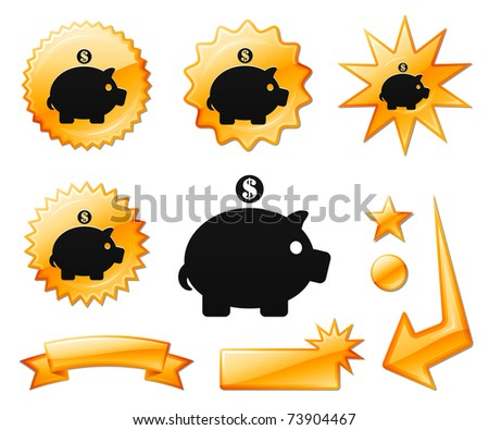 Piggy Bank Icon on Orange Burst Banners and Medals Original Vector Illustration