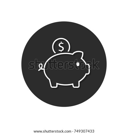 Piggy Bank Icon on Round Black Button vector illustration.