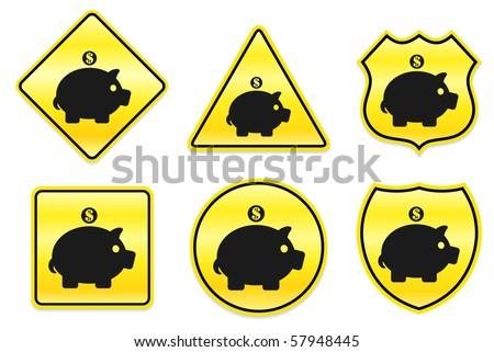 Piggy Bank Icon on Yellow Designs Original Illustration