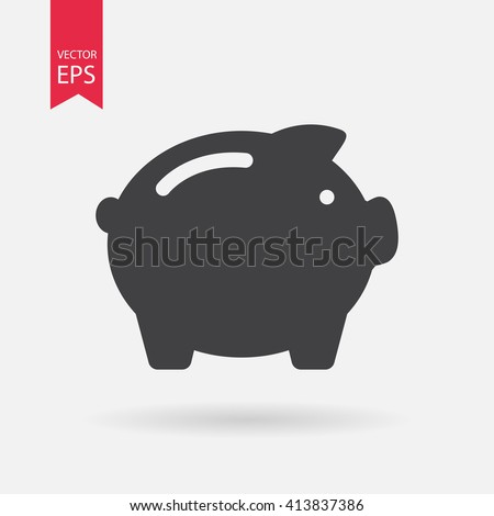 Piggy Bank icon vector, Debt,  money, savings, save money, budget, finance concept. Minimalistic sign isolated on white background. Trendy Flat style for graphic design, Web site, UI. EPS10