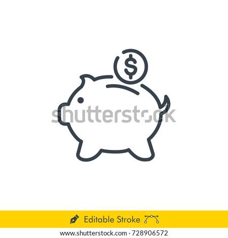 Piggy Bank Icon / Vector - In Line / Stroke Design with Editable Stroke