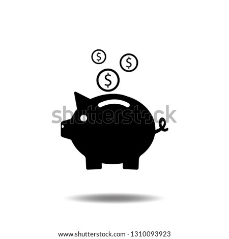 Piggy bank icon vector with dollar coin and moneybox flat sign symbols logo illustration isolated on white background.Concepts for business banking,saving,accumulation money,budget and finance.