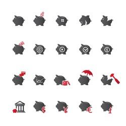 Piggy bank icons, banking and saving icon set