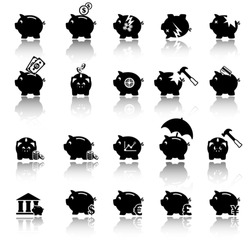 Piggy bank icons, banking and savings
