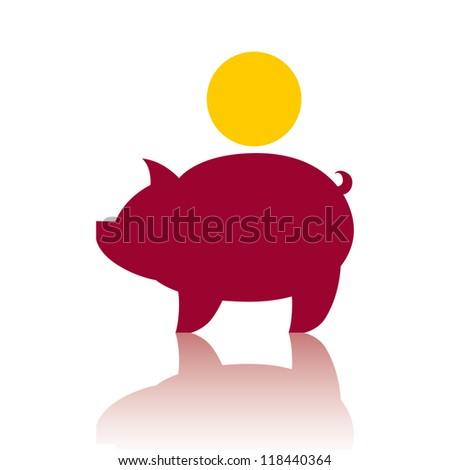 Piggy bank money, vector icon. - stock vector