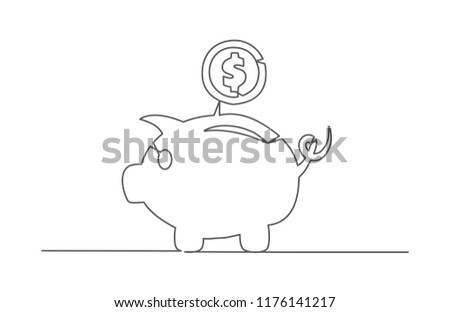 Piggy bank. One line drawing.