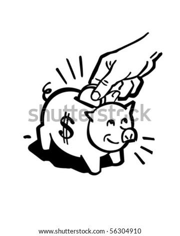 Piggy Bank - Retro Clip Art