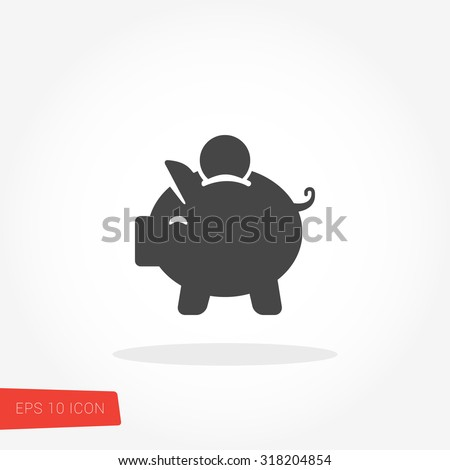 Piggy Bank, Saving Isolated Flat Web Mobile Icon / Vector / Sign / Symbol / Button / Element / Silhouette