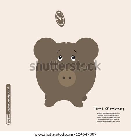 Piggy bank - saving money. Vector.