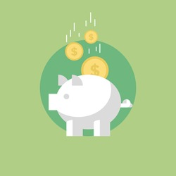Piggy bank with coins, financial savings and banking economy, long-term deposit investment. Flat icon modern design style vector illustration concept.