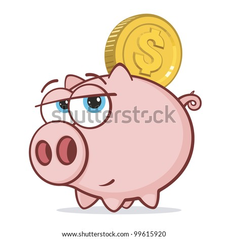 Piggy Bank with Gold Dollar Coin