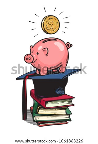 Piggy bank with Graduation hat, money and stack of books. Saving plan for education, student loan, financial aid concept. Hand drawn sketch style vector illustration isolated on white background