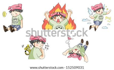 piggy boy cartoon icon in