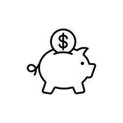piggybank savings line outline icon on white background