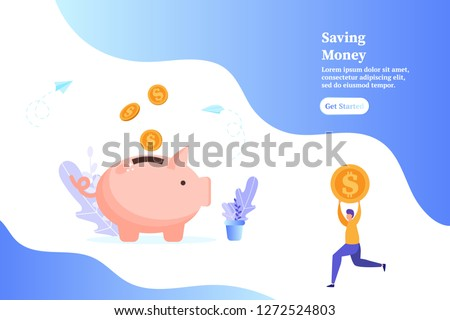 Piggybank with falling gold coins, man holding a coin, concept of saving money and profit, vector illustration for web, ui, landing page, flyer, poster, banner.