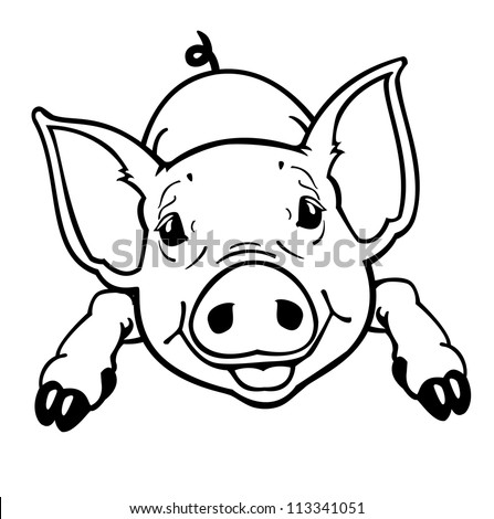 piglet,little pig,black and white vector picture isolated on white background,front view  contour image